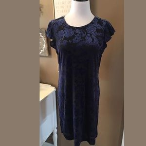 Adrienne Vittadini Navy Floral Velvet Dress Short